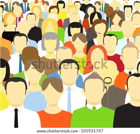 The crowd of abstract people. Vector illustration - stock vector