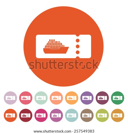 The cruise ship tickets icon. Travel symbol. Flat Vector illustration. Button Set - stock vector
