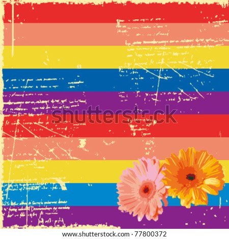 The crumbling colorful horizontal stripes and daisies,vector - stock vector