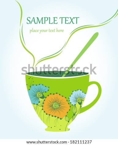 The cup of green tea vector illustration - stock vector