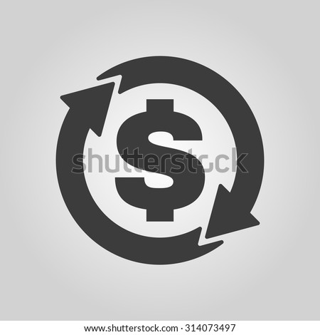 The currency exchange dollar icon. Cash and money, wealth, payment symbol. Flat Vector illustration - stock vector