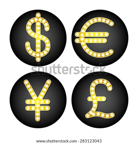 The currency signs of Dollar, Euro, Pound and Yen. - stock vector