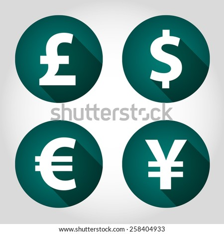 The currency signs of Dollar, Euro, Pound and Yen. Green Badge, Label or Sticker on the light background. - stock vector