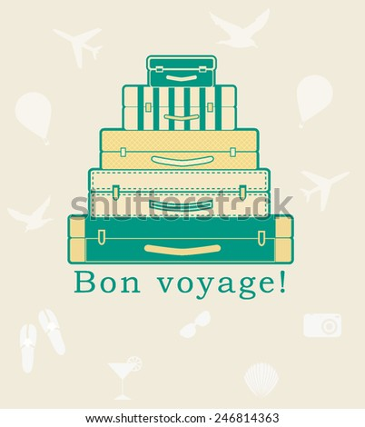 the cute suitcases on the beige background - stock vector