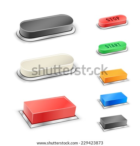 The 3D mega rectangular and oval red, blue, green, black and white buttons on the white background - stock vector