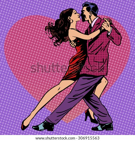 The dance of men and women on the background of hearts. Couple love tango waltz Rumba retro style - stock vector
