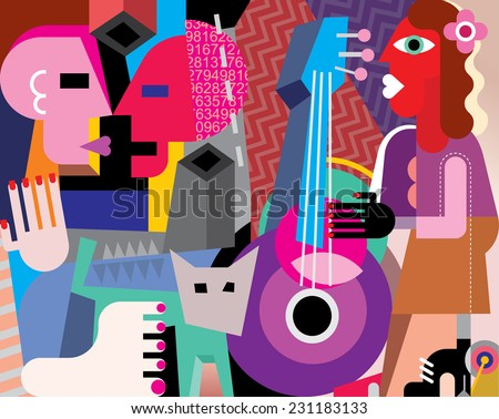 The dancing couple and woman playing guitar - vector illustration. Fine art picture. - stock vector