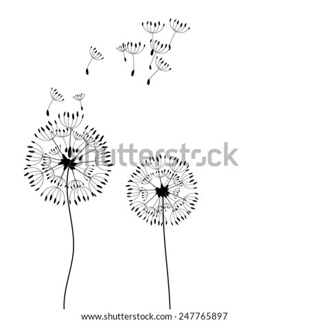 The dandelion on a wind loses the integrity. Vector. - stock vector