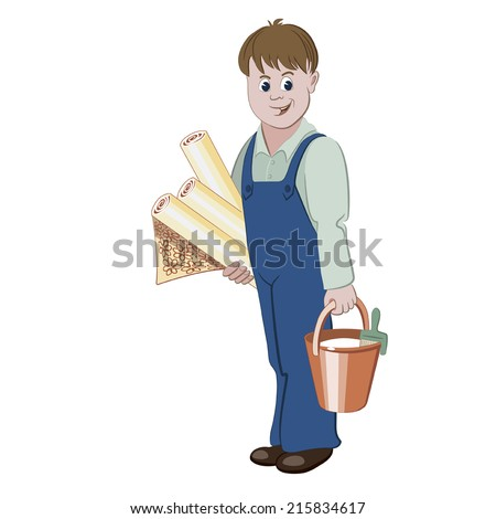The decorator or handyman standing with rolls of wallpaper and a bucket of glue - stock vector