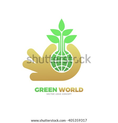 The design is suitable for all ecology related businesses, innovative materials and technologies, water, fresh food and nature. Hand holding Green leafs and globe Eco icon. - stock vector
