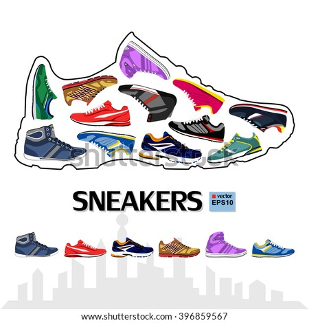 The design of sports shoes, sneakers. - stock vector