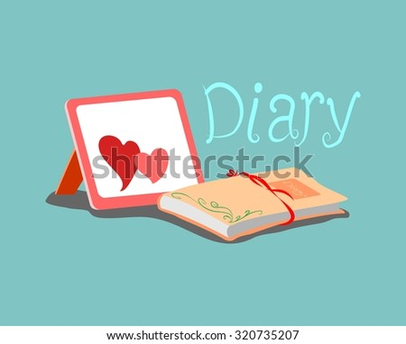 the diary and frame with hearts on a blue background - stock vector