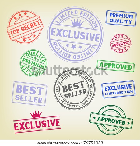The different colored stamp isolated on white background - stock vector