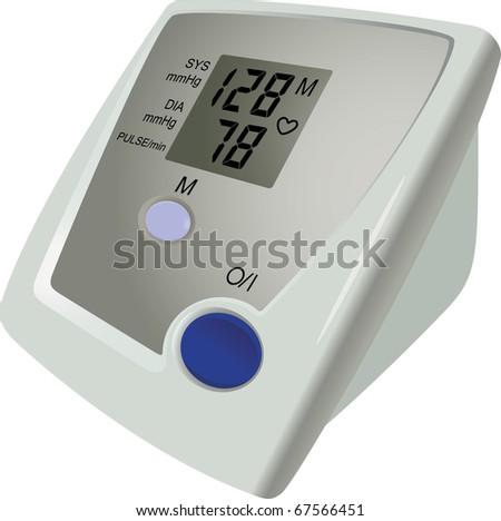 The digital monitor shows result of measurement of a blood pressure - stock vector