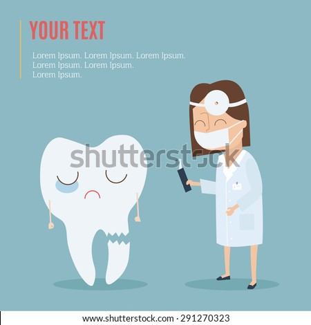 The doctor checkup and treat tooth. Vector illustration - stock vector
