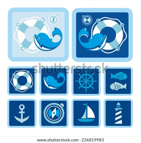 The Dolphin.  In the big picture depicted fun Dolphin on the background of a rescue and compass. On small images are images of sea subjects and objects. For Polygraphy, web-sites and textiles.  - stock vector