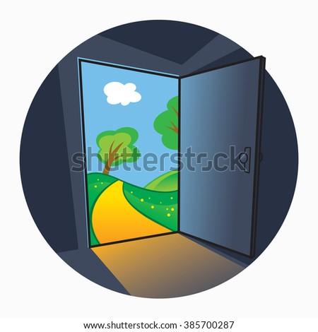 The door into summer - landscape view through the open door - stock vector