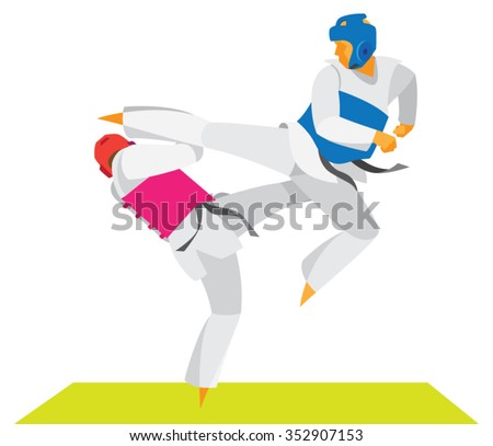 The dramatic duel of two fighters Taekwondo - stock vector