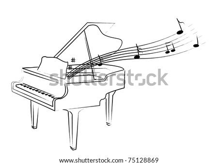 the drawing piano with melody - stock vector