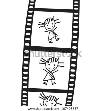 the drawn girl on a film. Vector illustration - stock vector