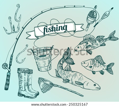 The drawn vector set: fishing. Rod, salmon, perch, bucket, fishing hooks, net, float, gumboots. Vector illustration - stock vector
