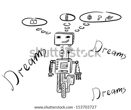 The dreaming robot with thoughts over the head - stock vector