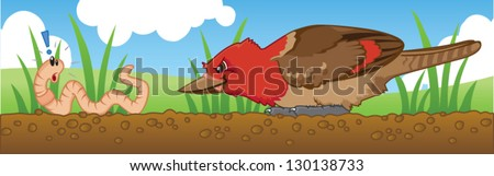 The early bird gets the worm. The early worm becomes breakfast! - stock vector