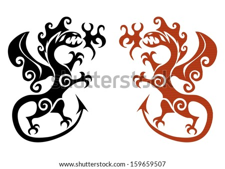 The early viking tattoo in the form a dragon on a white background. - stock vector