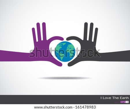 The earth inside heart made up of human hands Hands  - stock vector