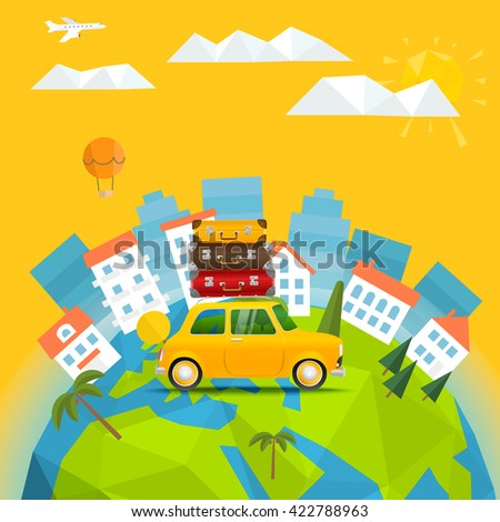 The Earth with abstract World map. Summer holidays concept - stock vector
