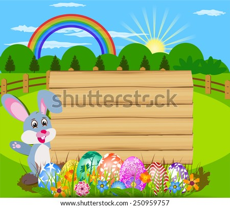 The Easter with eggs, rabbit  and wood sign board - stock vector