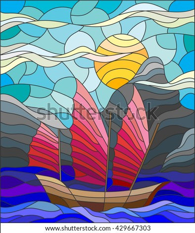 The Eastern ship with red sails on the background of sky, sun and rocky shores - stock vector