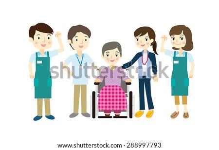 The elderly and welfare staff - stock vector