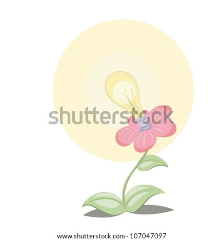The electric bulb has grown from a flower - stock vector