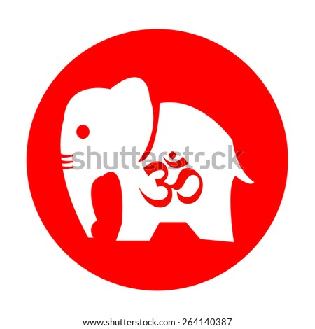 The elephant and om symbol - stock vector