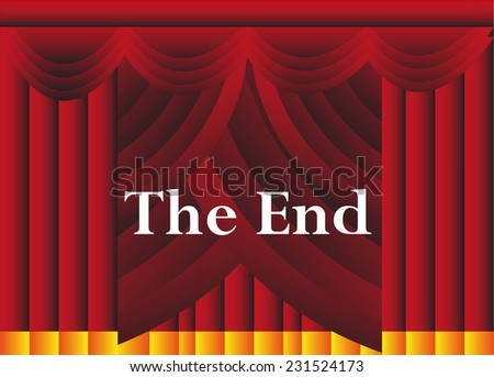 The end curtain background - stock vector