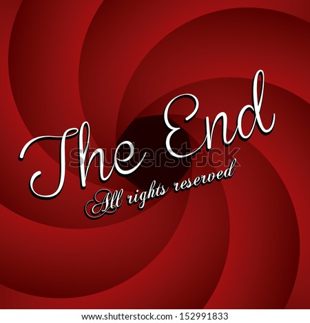 the end label over red wine background vector illustration - stock vector