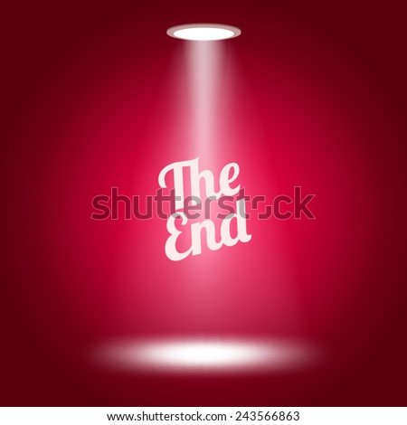 The end stage lit with lights on red background Vector illustration.  - stock vector