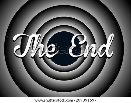 The end typography. Old movie screen - stock vector
