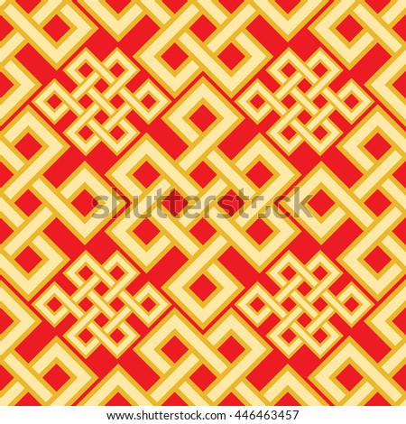 The endless knot seamless pattern. Graphic ornament composed of right-angled, intertwined lines. Vector illustration. - stock vector