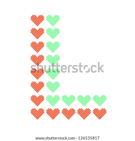 The English alphabet in colorful heart patterns - stock vector