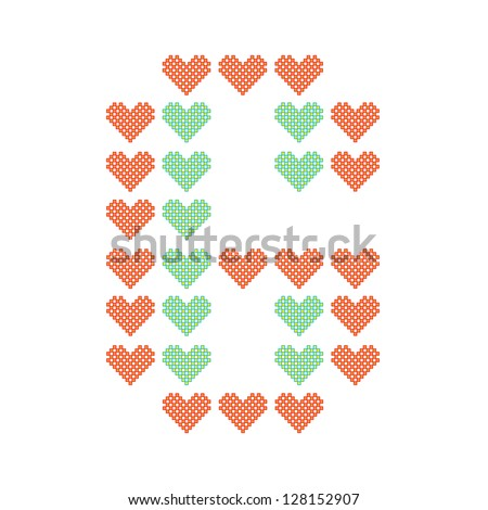 The English alphabet in many heart patterns, Letter G, One of the 26 English letters. - stock vector