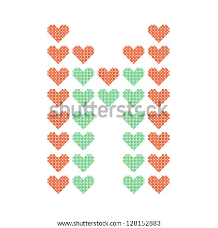 The English alphabet in many heart patterns, Letter M, One of the 26 English letters. - stock vector