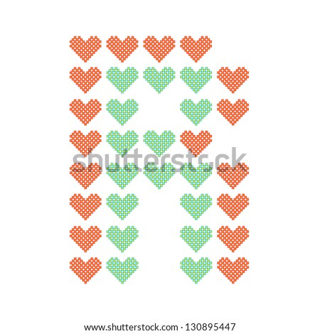 The English alphabet in many heart patterns, Letter R, One of the 26 English letters. - stock vector
