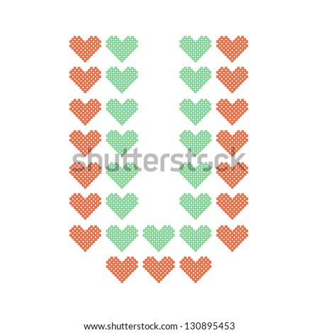 The English alphabet in many heart patterns, Letter U, One of the 26 English letters. - stock vector