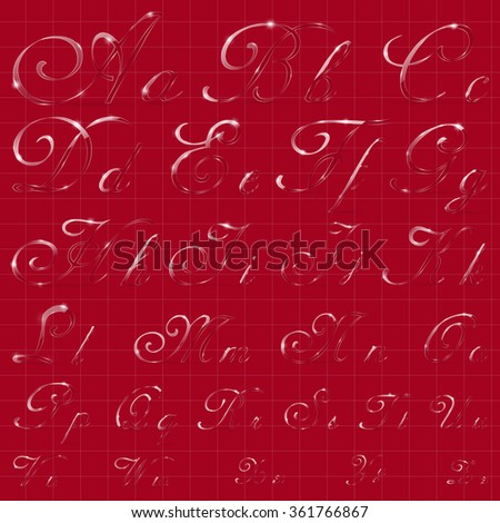 The Entire English Alphabet Performed in Cursive Calligraphic Style. Imitation of Glass or Ice Transparency. Ideal for Winter Lettering. EPS10 vector - stock vector