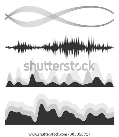 The equalizer, equalizer set,  icon set, vector set of waves, vector icons set waves, musical wave, sound waves, audio wave icon set, Audio equalizer technology, pulse musical , pulse musical set. - stock vector