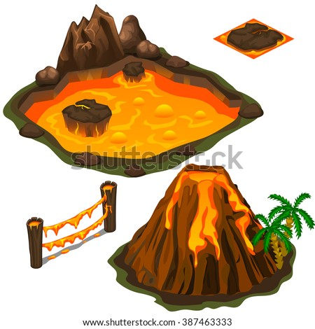 The eruption of a volcano on a tropical island. A pool of volcanic lava. Vector illustration. - stock vector