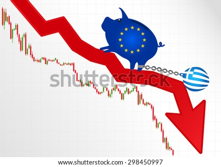 The European Union and the crisis in Greece.Financial metaphor. - stock vector