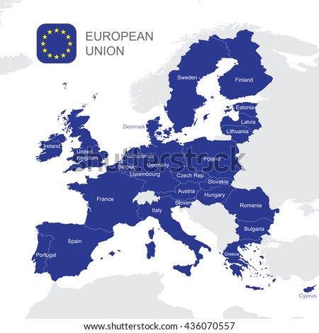 The European Union highly detailed vector map - stock vector
